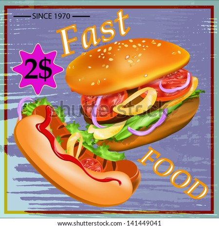 Tasty fresh delicious fast food poster. Vector illustration