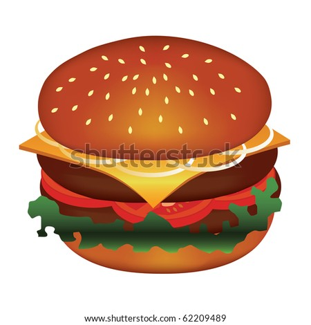 tasty hamburger with meat, tomato, cheese, salad, onion