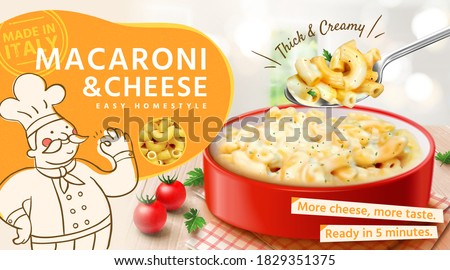 Tasty macaroni and cheese ads in 3d illustration, bowl of macaroni and cheese with spoon