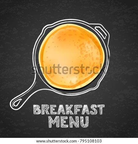 Tasty pancake and hand drawn outline watercolor pan, on textured black board slate background. Vector design for breakfast dessert menu, cafe, restaurant. Morning recipe illustration.