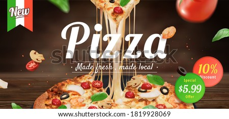 Tasty pizza ad with stringy cheese and fresh ingredients set on wooden table, 3d illustration