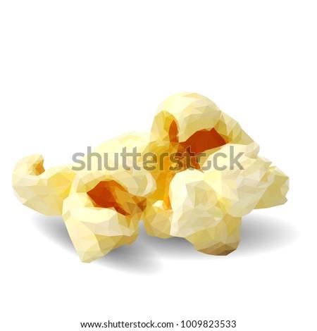 Tasty Popcorn. Elements for label design. Vector illustration. Ingredients in triangulation technique. Popcorn low poly.