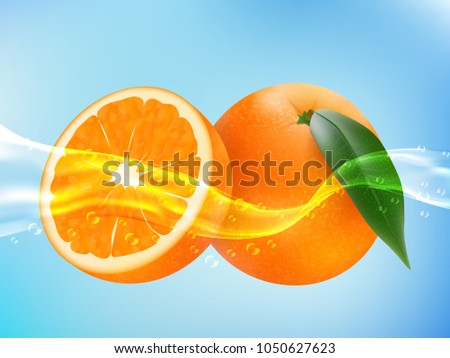 tasty ripe orange in clean