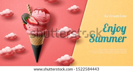 Tasty strawberry ice cream cone ads with fresh fruit and chocolate cookie on cloudy pink background in 3d illustration