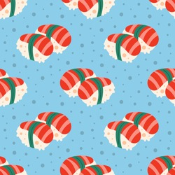 Tasty sushi. Food, eat. Japanese delicious dish. Fast food, cafe, restaurant. Product delivery. Fish recipe. Kitchen, home cooking. Flat cartoon, hand drawn, vector seamless pattern, background.