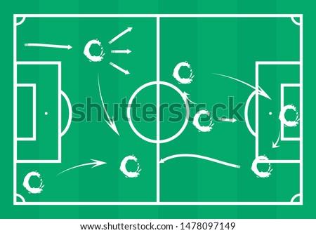 Taticas no campo de futebol (soccer field tactics in portuguese) vector illustration Foto stock ©