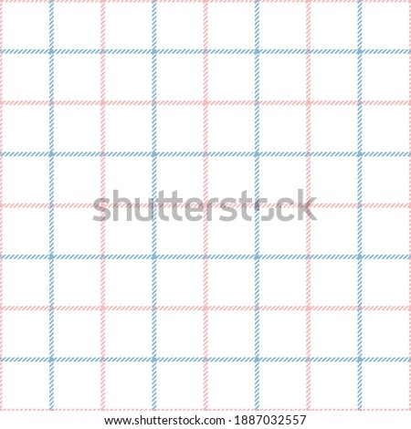 Tattersall pattern in pink, blue, white. Seamless tartan check plaid graphic for scarf, skirt, blanket, throw, or other modern spring and summer fabric print. Simple classic textured design. Photo stock ©