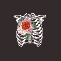 Tattoo anatomy vintage illustration. Floral chest skeleton. Vector illustration