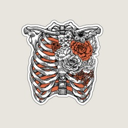 Tattoo anatomy vintage illustration. Roses chest skeleton. Vector illustration