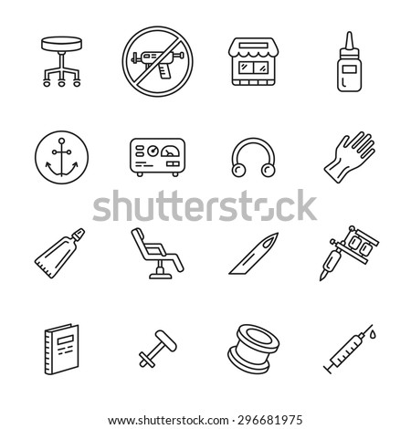 Tattoo and piercing thin line icons