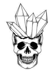 tattoo and t-shirt design  black and white hand drawn crystal skull premium vector