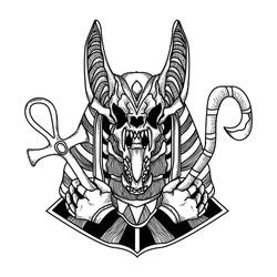 tattoo and t-shirt design black and white hand drawn illustration anubis skull premium vector