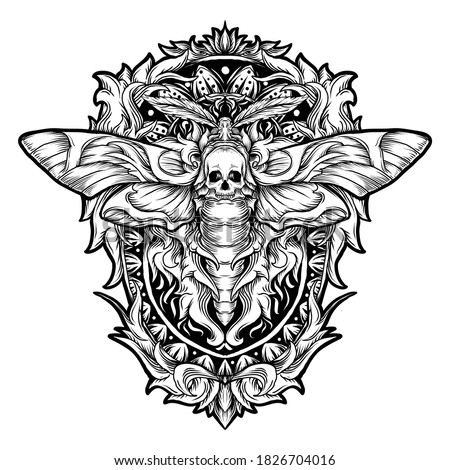 tattoo and t-shirt design black and white hand drawn skull moth engraving ornament  premium vector
