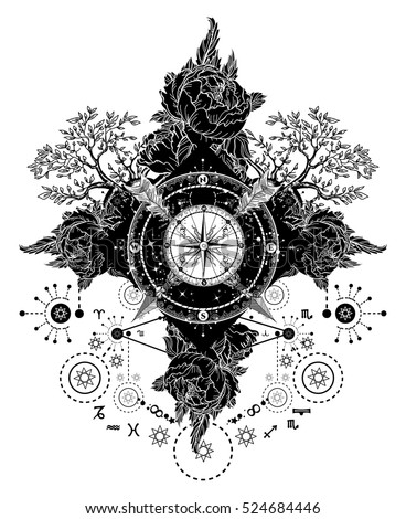 Tattoo art. Compass, crossed arrows, roses, evergreen tree. T-shirt design. Travel, adventure, outdoors tattoo art boho symbols. Mystical signs tattoo medieval astrological style