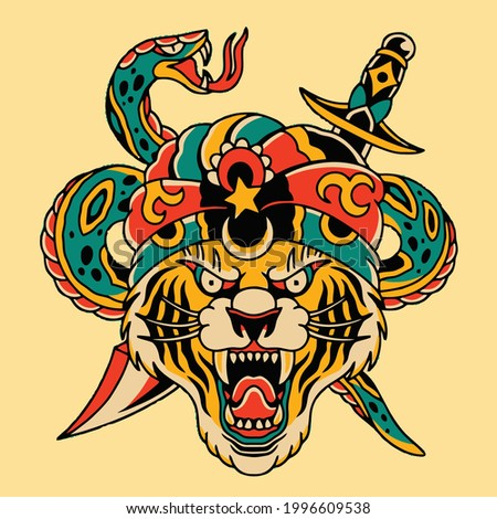 tattoo art design head tiger with snake