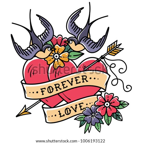 Tattoo art. Tattoo two hearts pierced by arrow. Hearts with flowers , ribbon and swallows. Forever love. Illustration for Valentines Day. Old School design