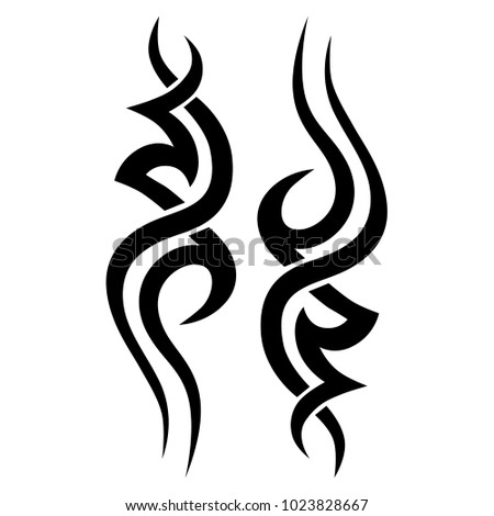 Tattoo art tribal vector design. Simple logo. Individual designer isolated element for decorating the body of women, men and girls arm, leg and other body parts. Abstract illustration.