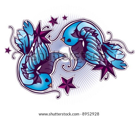 stock vector : tattoo birds and stars