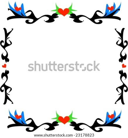 stock vector : Tattoo Borders with Hearts and Blue Flowers Vector