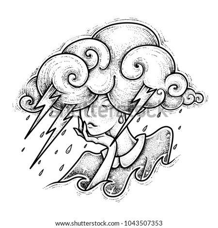 Tattoo design. Girl thunderstorm. Vector illustration isolated on white.