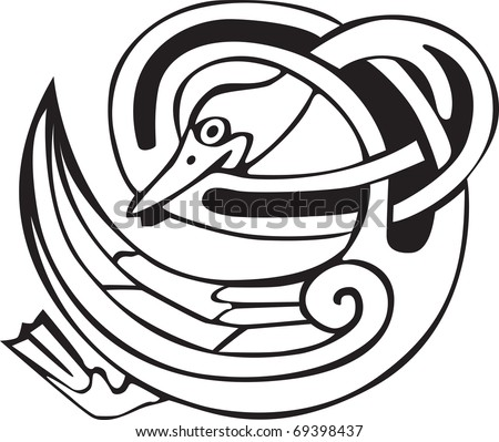 stock vector Tattoo design of a Celtic viking animal of a duck biting its