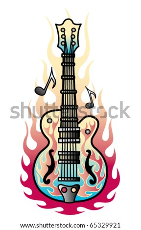 Tattoo design of a rock and roll guitar with flames and musical notes