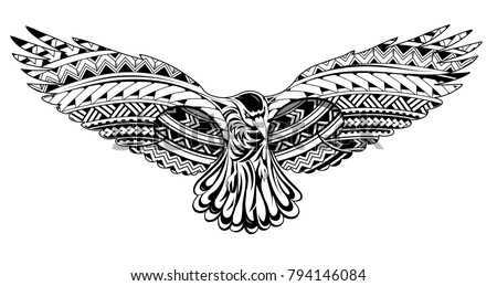 Tattoo design of the decorative crow tattoo with Maori style ornaments. Good for shoulder and back tattoo