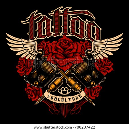 Tattoo design. Shirt graphic with old school tattoo machines, roses and wings. All elements; machines, roses, wings, text and colors are on the separate layers. (COLOR VERSION).