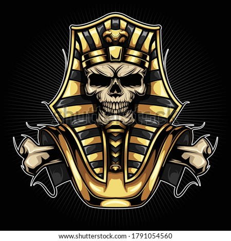 Tattoo Design Skull Pharaoh., Tattoo Design concept.