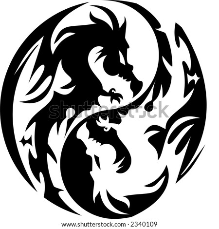 white dragon tattoo. stock vector : tattoo dragon
