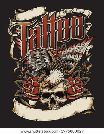 Tattoo Eagle with Skull and Roses Logo with Scrolls