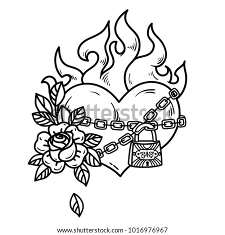 tattoo flaming heart bound by
