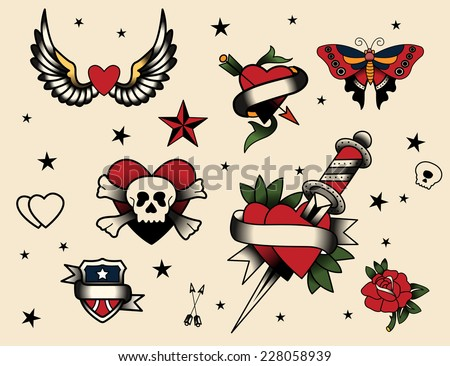 2a2450821 Old School Tattoo Vectors - Download Free Vector Art, Stock Graphics ...
