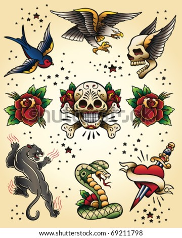 Tattoo Flash Vector Elements Set