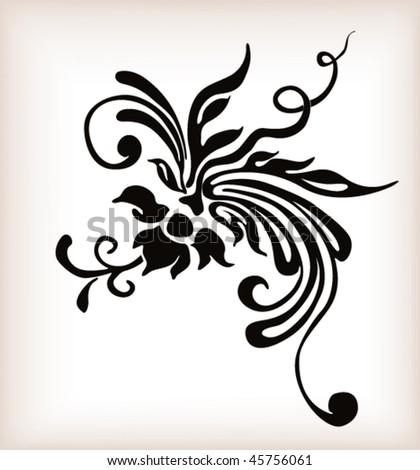 stock vector Tattoo floral design Vector ornament