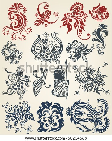 stock vector : tattoo floral elements vintage vector design