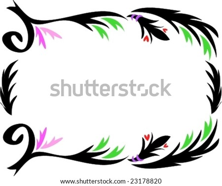 Tattoo Frame with Sweeping Leaves,