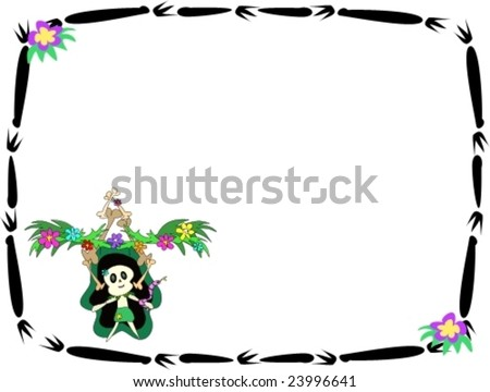 stock vector : Tattoo Frame with Tiki Friend and Flowers Vector--hereâ?