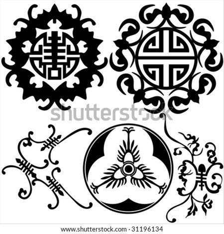 stock vector : Tattoo from the ancient Chinese decorative pattern.