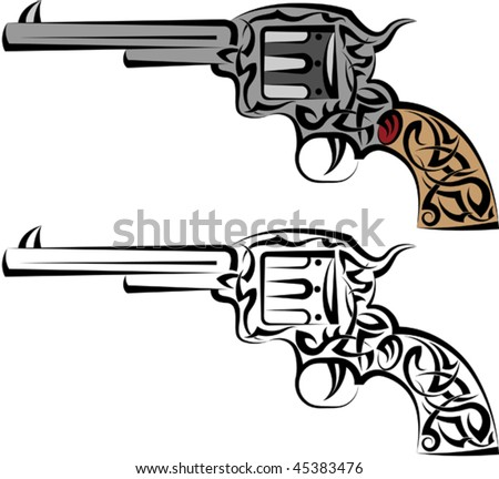 stock vector : Tattoo Gun, Revolver, Pistol,