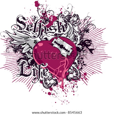Tattoo of angel wings on middle of upper back. stock vector : Tattoo heart