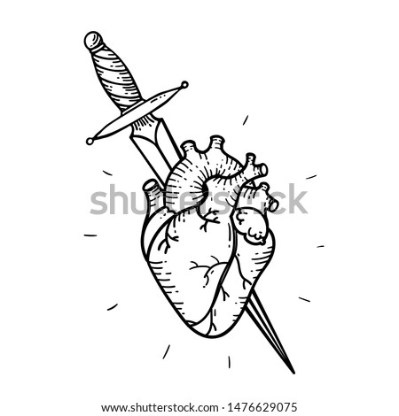 Tattoo heart and sword and dagger. Traditional black dot style ink. Heart Isolated vector illustration. Traditional Tattoo Old School Tattooing Style Ink.