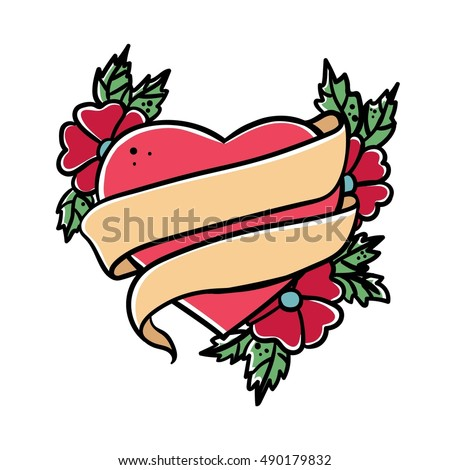 Tattoo Heart with ribbon. Old school retro vector illustration .