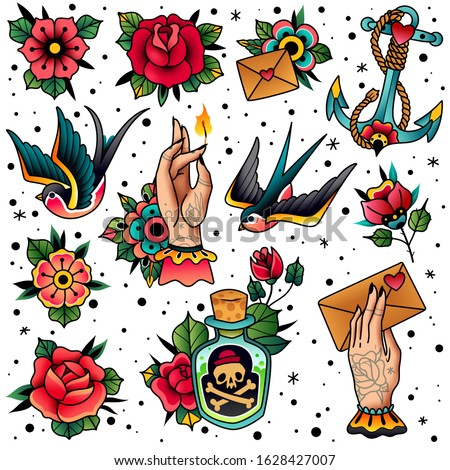 Tattoo icons pack. Old school traditional flash colored style. Swallow, rose, heart, hands, flowers, anchor, skull, bottle with potion isolated symbols.  Vector illustration