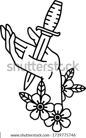 tattoo in black line style of a dagger in the hand Сток-фото ©