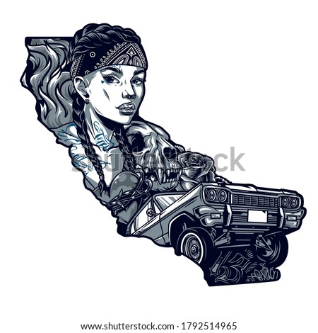 tattoo in chicano style vintage