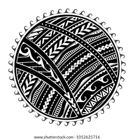 Tattoo in ethnic Maori style. Tribal sun shape