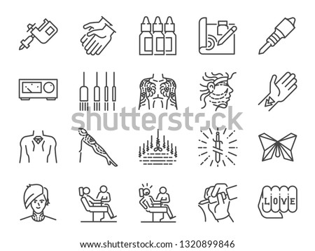 Tattoo line icon set. Included icons as skin, body, artist, style, art and more.