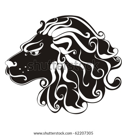 stock vector : tattoo Lion. Astrology sign. Vector zodiac Leo