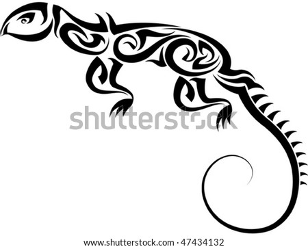 stock vector Tattoo Lizard